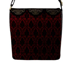 Elegant Black And Red Damask Antique Vintage Victorian Lace Style Flap Messenger Bag (l)