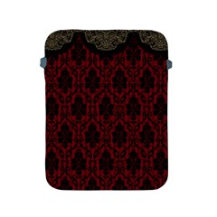 Elegant Black And Red Damask Antique Vintage Victorian Lace Style Apple Ipad 2/3/4 Protective Soft Cases