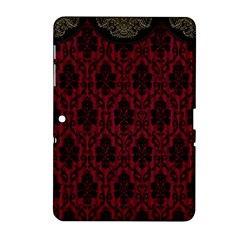 Elegant Black And Red Damask Antique Vintage Victorian Lace Style Samsung Galaxy Tab 2 (10 1 ) P5100 Hardshell Case