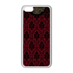 Elegant Black And Red Damask Antique Vintage Victorian Lace Style Apple Iphone 5c Seamless Case (white) by yoursparklingshop