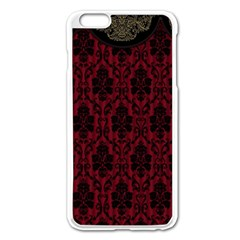 Elegant Black And Red Damask Antique Vintage Victorian Lace Style Apple Iphone 6 Plus/6s Plus Enamel White Case by yoursparklingshop