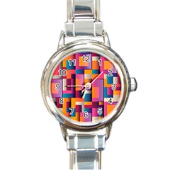 Abstract Background Geometry Blocks Round Italian Charm Watch by Simbadda