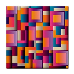 Abstract Background Geometry Blocks Tile Coasters by Simbadda