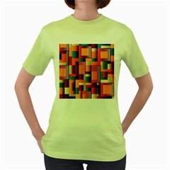 Abstract Background Geometry Blocks Women s Green T Shirt by Simbadda