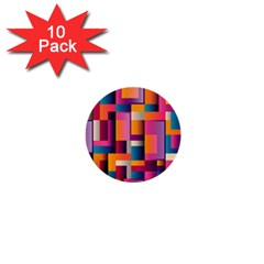 Abstract Background Geometry Blocks 1  Mini Buttons (10 Pack)  by Simbadda