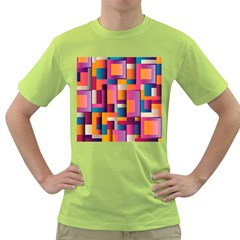 Abstract Background Geometry Blocks Green T Shirt by Simbadda