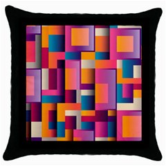 Abstract Background Geometry Blocks Throw Pillow Case (black) by Simbadda