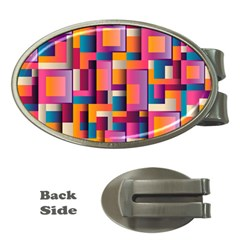 Abstract Background Geometry Blocks Money Clips (oval)  by Simbadda