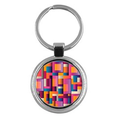 Abstract Background Geometry Blocks Key Chains (round)  by Simbadda