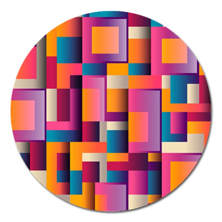 Abstract Background Geometry Blocks Magnet 5  (Round)