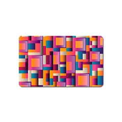Abstract Background Geometry Blocks Magnet (name Card) by Simbadda