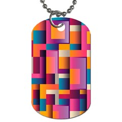 Abstract Background Geometry Blocks Dog Tag (one Side) by Simbadda