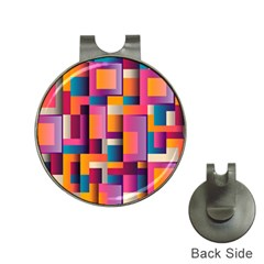 Abstract Background Geometry Blocks Hat Clips With Golf Markers by Simbadda