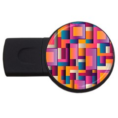 Abstract Background Geometry Blocks Usb Flash Drive Round (4 Gb) by Simbadda