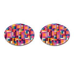 Abstract Background Geometry Blocks Cufflinks (oval) by Simbadda