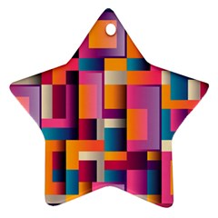 Abstract Background Geometry Blocks Star Ornament (two Sides) by Simbadda