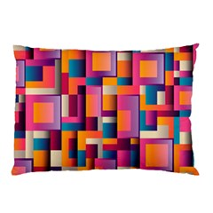 Abstract Background Geometry Blocks Pillow Case by Simbadda