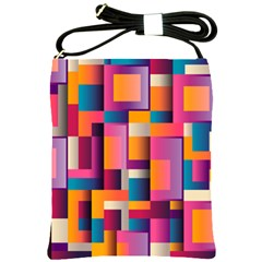 Abstract Background Geometry Blocks Shoulder Sling Bags by Simbadda