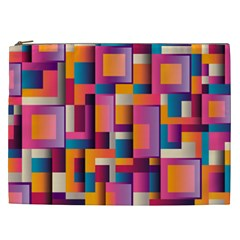 Abstract Background Geometry Blocks Cosmetic Bag (xxl)  by Simbadda