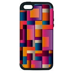 Abstract Background Geometry Blocks Apple Iphone 5 Hardshell Case (pc+silicone) by Simbadda