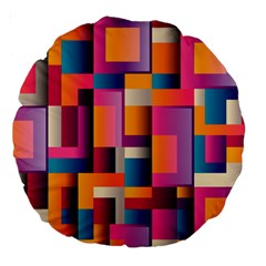 Abstract Background Geometry Blocks Large 18  Premium Round Cushions by Simbadda