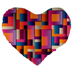 Abstract Background Geometry Blocks Large 19  Premium Heart Shape Cushions by Simbadda