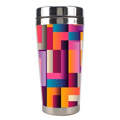 Abstract Background Geometry Blocks Stainless Steel Travel Tumblers by Simbadda
