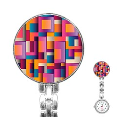 Abstract Background Geometry Blocks Stainless Steel Nurses Watch by Simbadda