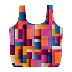 Abstract Background Geometry Blocks Full Print Recycle Bags (l)  by Simbadda