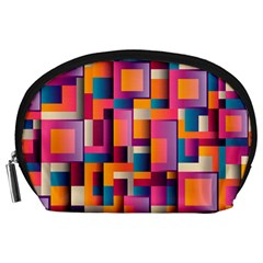 Abstract Background Geometry Blocks Accessory Pouches (large)  by Simbadda