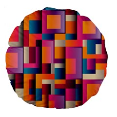 Abstract Background Geometry Blocks Large 18  Premium Flano Round Cushions by Simbadda