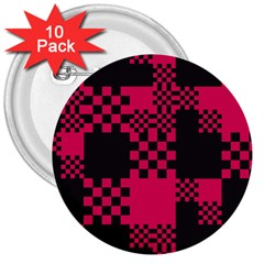 Cube Square Block Shape Creative 3  Buttons (10 Pack)  by Simbadda