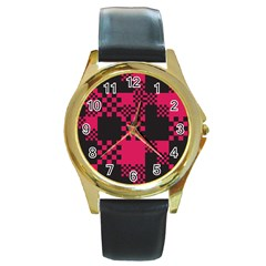 Cube Square Block Shape Creative Round Gold Metal Watch by Simbadda
