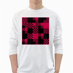 Cube Square Block Shape Creative White Long Sleeve T Shirts by Simbadda