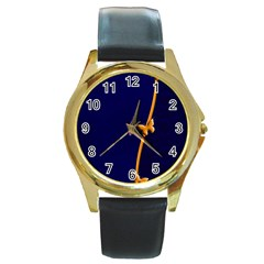 Greeting Card Invitation Blue Round Gold Metal Watch by Simbadda