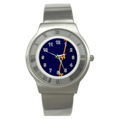Greeting Card Invitation Blue Stainless Steel Watch by Simbadda