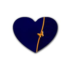 Greeting Card Invitation Blue Rubber Coaster (heart)  by Simbadda