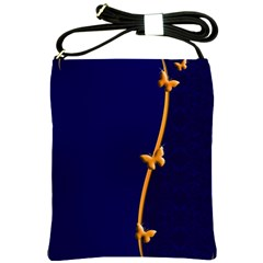 Greeting Card Invitation Blue Shoulder Sling Bags by Simbadda