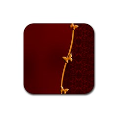 Greeting Card Invitation Red Rubber Coaster (square)  by Simbadda