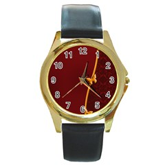 Greeting Card Invitation Red Round Gold Metal Watch by Simbadda