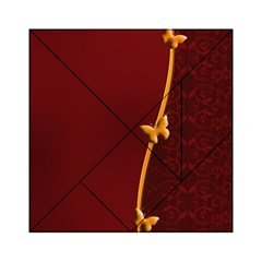 Greeting Card Invitation Red Acrylic Tangram Puzzle (6  X 6 ) by Simbadda