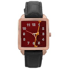 Greeting Card Invitation Red Rose Gold Leather Watch  by Simbadda