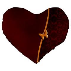 Greeting Card Invitation Red Large 19  Premium Flano Heart Shape Cushions by Simbadda