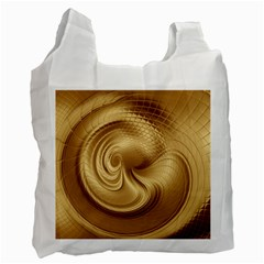 Gold Background Texture Pattern Recycle Bag (two Side)  by Simbadda