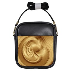 Gold Background Texture Pattern Girls Sling Bags by Simbadda