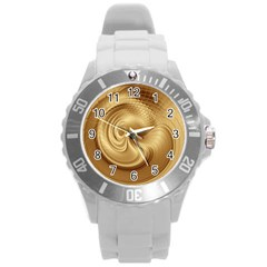 Gold Background Texture Pattern Round Plastic Sport Watch (l) by Simbadda