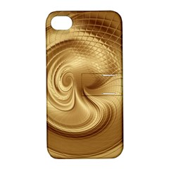 Gold Background Texture Pattern Apple Iphone 4/4s Hardshell Case With Stand by Simbadda