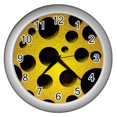 Background Design Random Balls Wall Clocks (silver)  by Simbadda