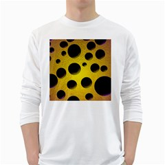Background Design Random Balls White Long Sleeve T Shirts by Simbadda