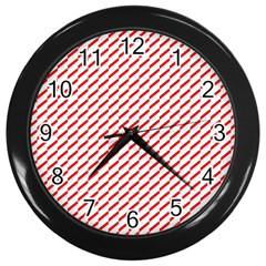 Pattern Red White Background Wall Clocks (black) by Simbadda